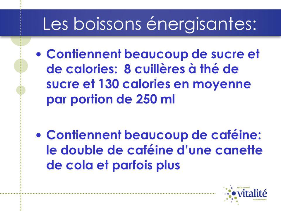 Les boissons énergisantes: Contiennent beaucoup de sucre et de calories: 8 cuillères à thé de sucre et 130 calories en moyenne par portion de 250 ml Contiennent beaucoup de caféine: le double de caféine dune canette de cola et parfois plus