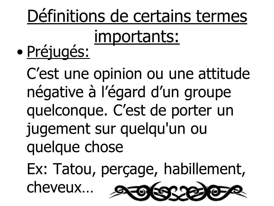 Définitions de certains termes importants: Préjugés: Cest une opinion ou une attitude négative à légard dun groupe quelconque.