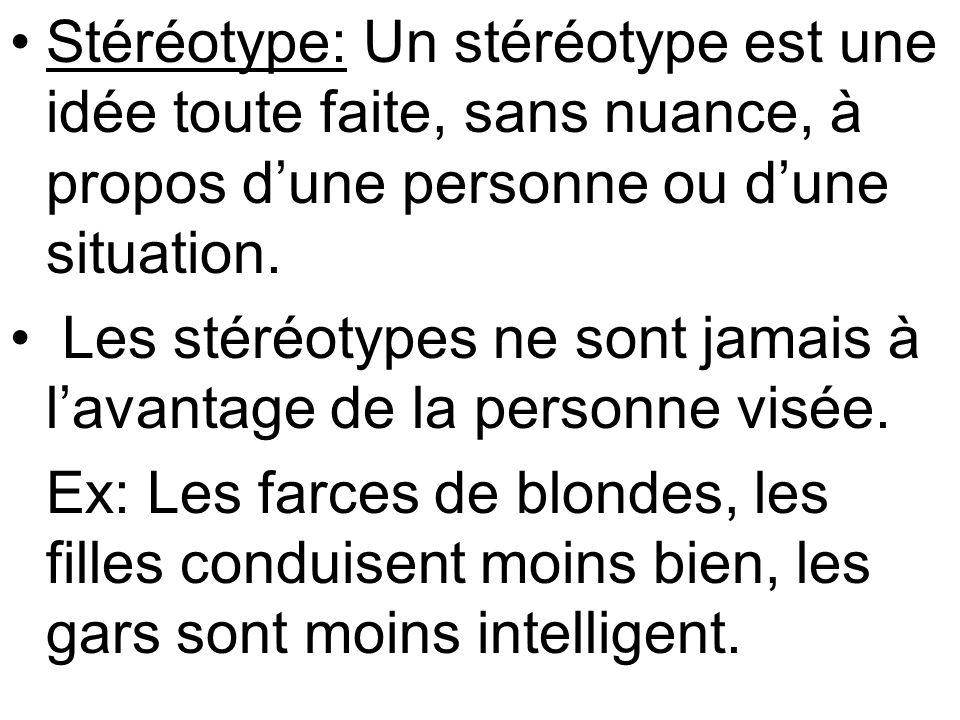 Stéréotype: Un stéréotype est une idée toute faite, sans nuance, à propos dune personne ou dune situation.