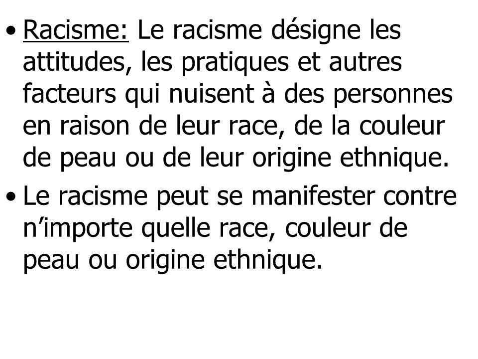 Racisme: Le racisme désigne les attitudes, les pratiques et autres facteurs qui nuisent à des personnes en raison de leur race, de la couleur de peau ou de leur origine ethnique.