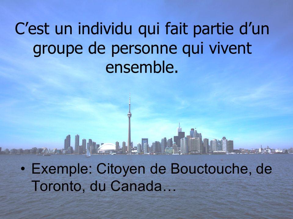 En plus de respecter les différences individuelles, si jassume mon rôle de citoyen, je contribue au développement dune société harmonieuse.