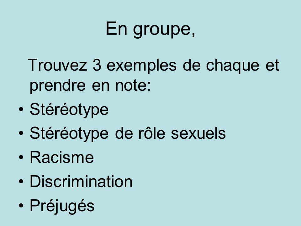 En groupe, Trouvez 3 exemples de chaque et prendre en note: Stéréotype Stéréotype de rôle sexuels Racisme Discrimination Préjugés