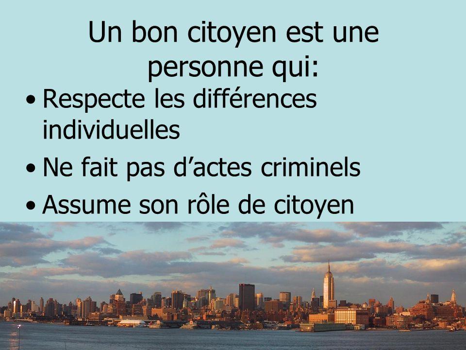 Un bon citoyen est une personne qui: Respecte les différences individuelles Ne fait pas dactes criminels Assume son rôle de citoyen