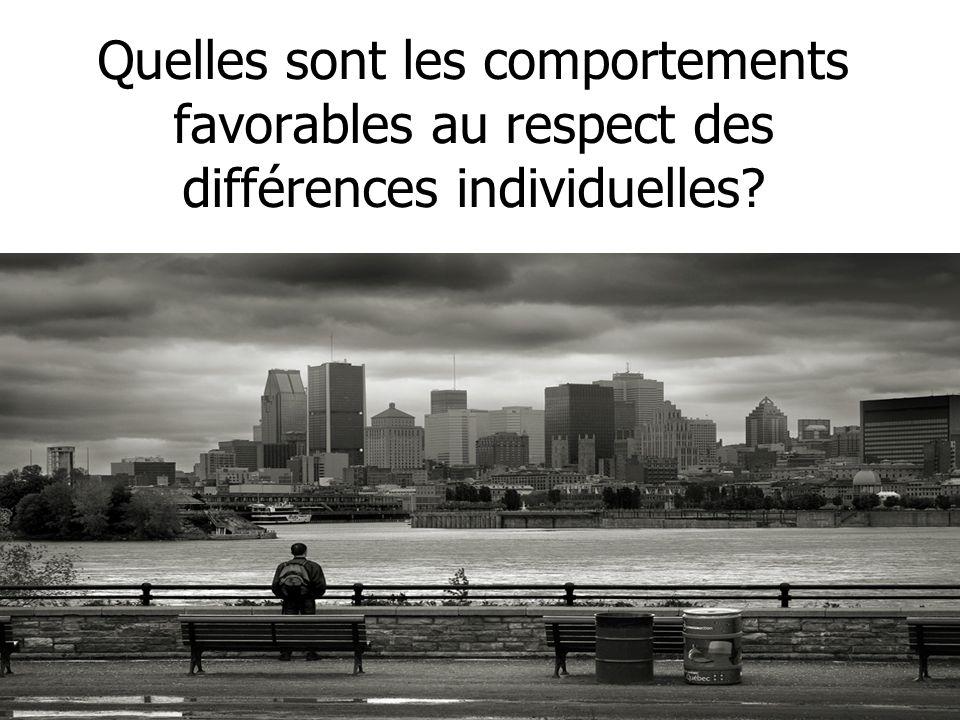 Quelles sont les comportements favorables au respect des différences individuelles