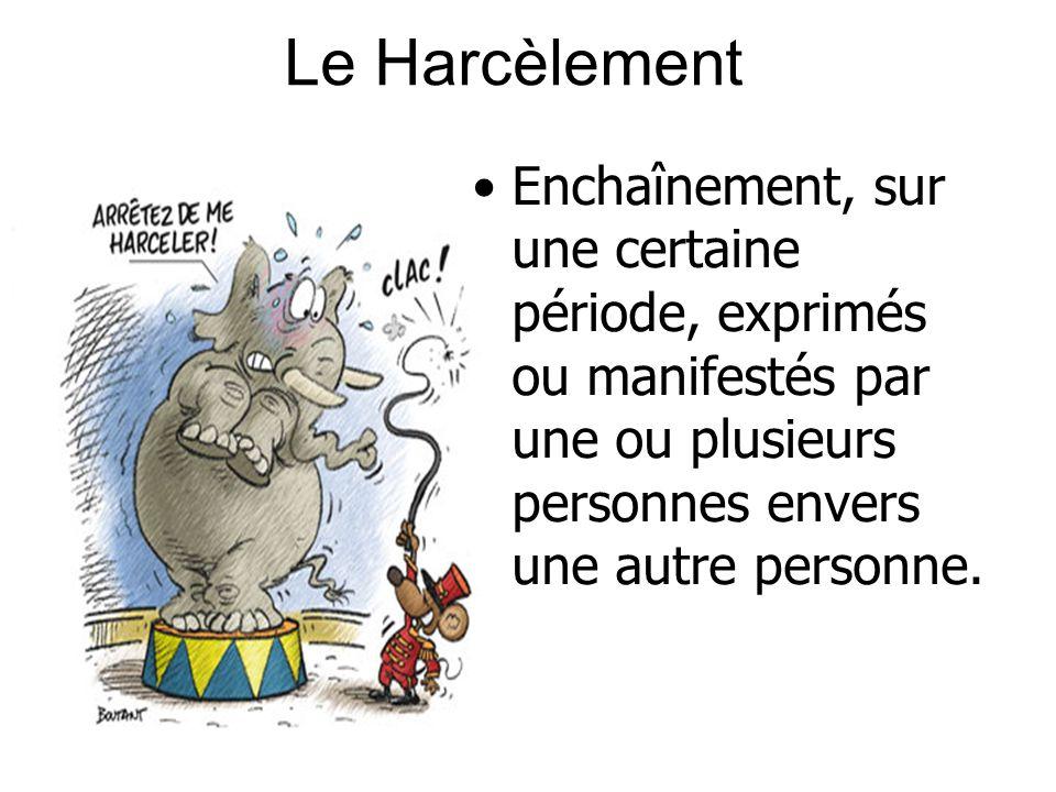 Le Harcèlement Enchaînement, sur une certaine période, exprimés ou manifestés par une ou plusieurs personnes envers une autre personne.