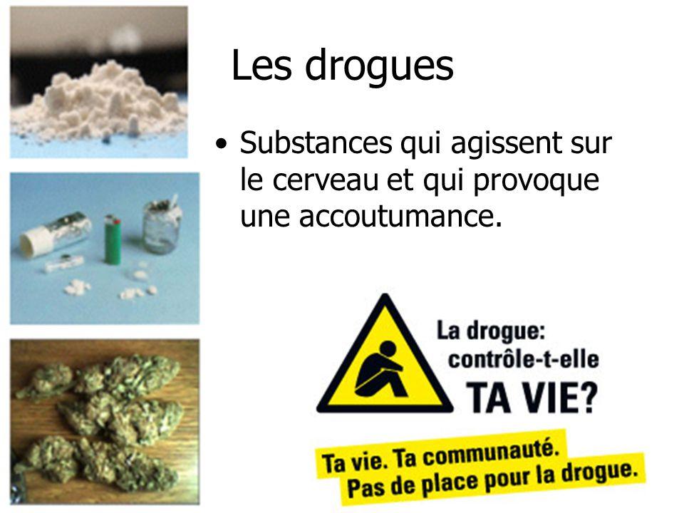 Les drogues Substances qui agissent sur le cerveau et qui provoque une accoutumance.