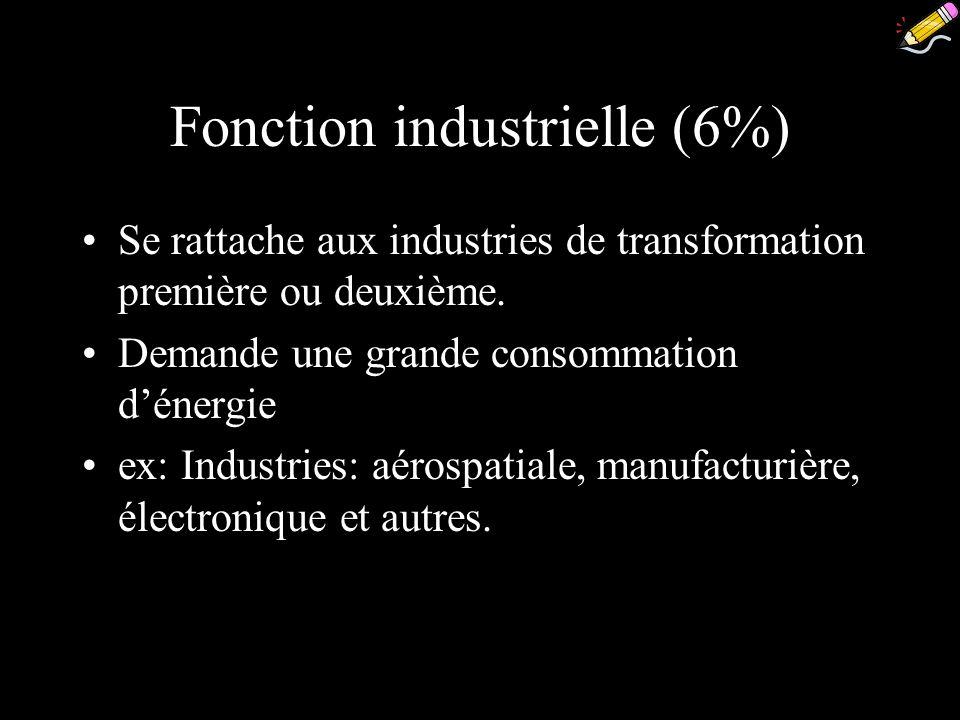 Fonction industrielle (6%) Se rattache aux industries de transformation première ou deuxième. Demande une grande consommation dénergie ex: Industries:
