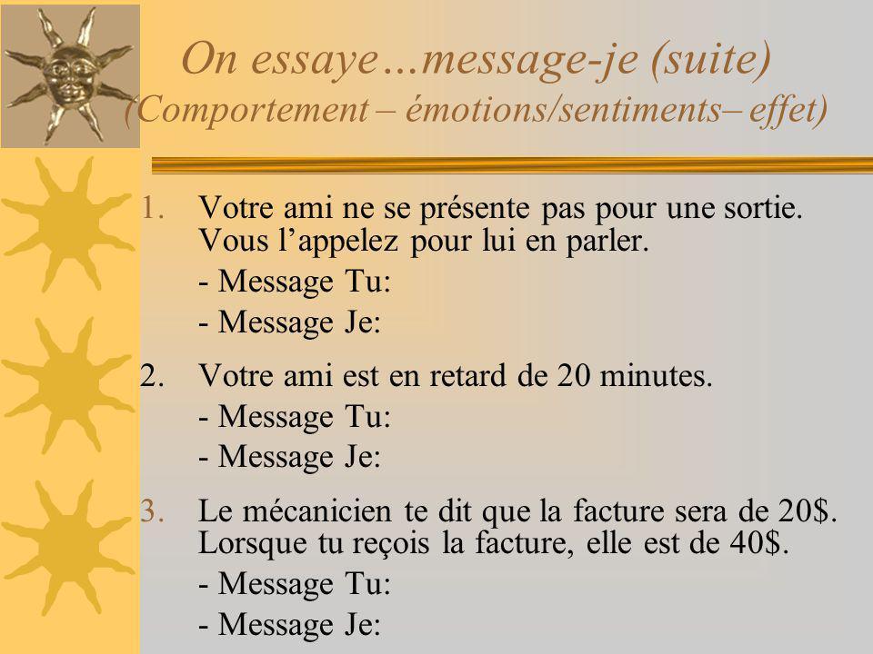 On essaye…message-je (suite) (Comportement – émotions/sentiments– effet) 1.Votre ami ne se présente pas pour une sortie. Vous lappelez pour lui en par