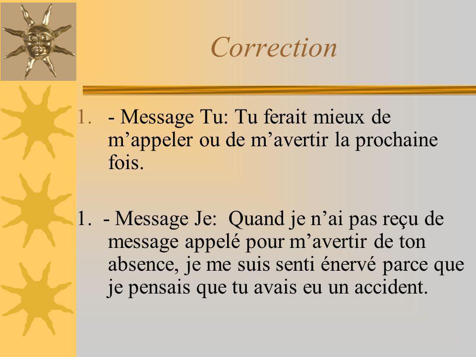 Correction 1.- Message Tu: Tu ferait mieux de mappeler ou de mavertir la prochaine fois. 1. - Message Je: Quand je nai pas reçu de message appelé pour
