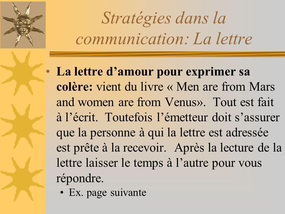La lettre damour pour exprimer sa colère: vient du livre « Men are from Mars and women are from Venus». Tout est fait à lécrit. Toutefois lémetteur do