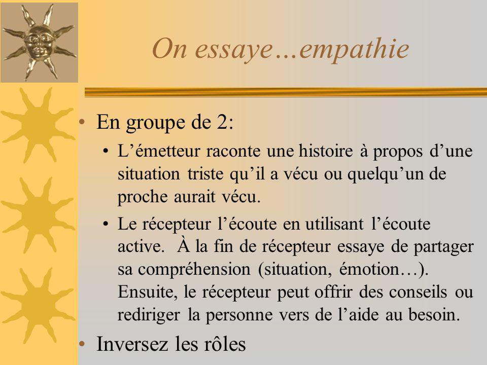 On essaye…empathie En groupe de 2: Lémetteur raconte une histoire à propos dune situation triste quil a vécu ou quelquun de proche aurait vécu. Le réc