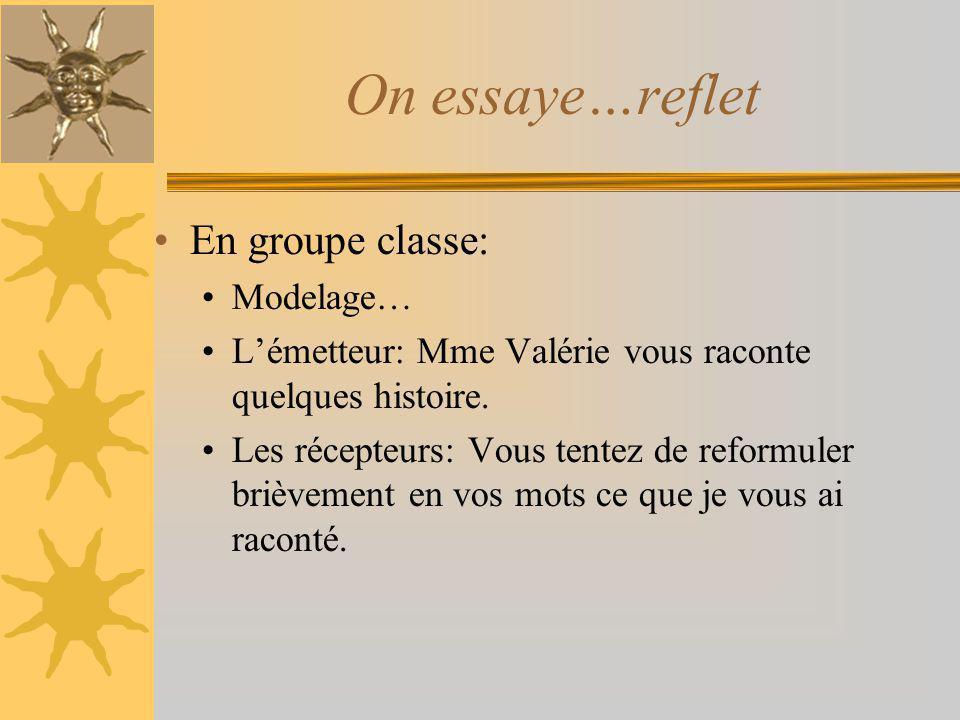 On essaye…reflet En groupe classe: Modelage… Lémetteur: Mme Valérie vous raconte quelques histoire. Les récepteurs: Vous tentez de reformuler brièveme
