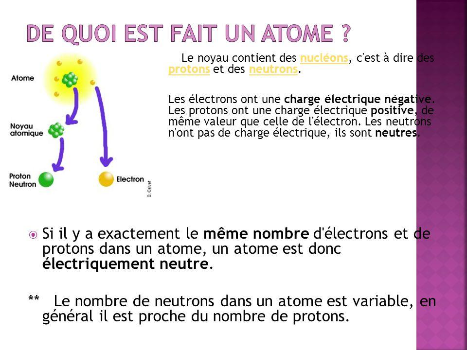 Le noyau contient des nucléons, c'est à dire des protons et des neutrons.nucléons protonsneutrons Les électrons ont une charge électrique négative. Le