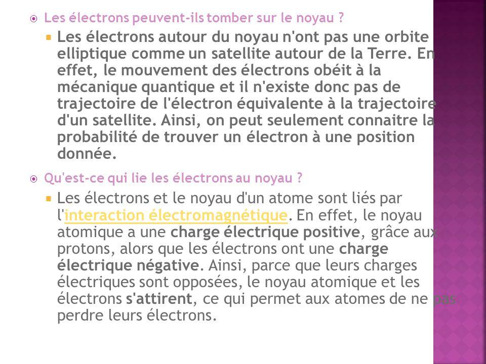 Les électrons peuvent-ils tomber sur le noyau ? Les électrons autour du noyau n'ont pas une orbite elliptique comme un satellite autour de la Terre. E