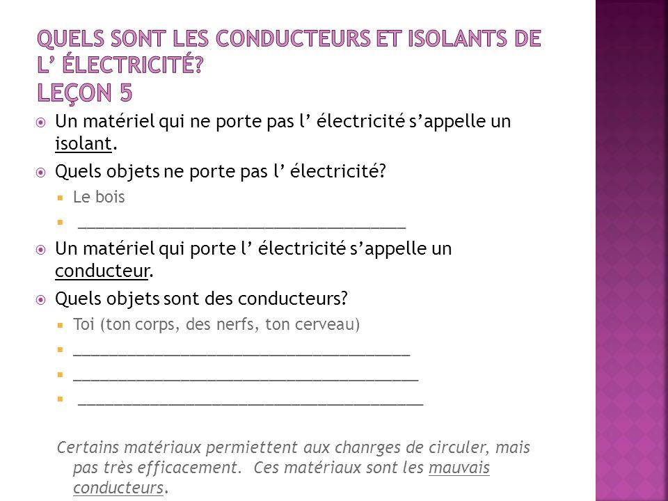 Un matériel qui ne porte pas l électricité sappelle un isolant. Quels objets ne porte pas l électricité? Le bois _____________________________________