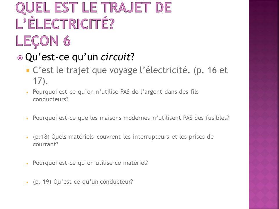 Quest-ce quun circuit? Cest le trajet que voyage lélectricité. (p. 16 et 17). Pourquoi est-ce quon nutilise PAS de largent dans des fils conducteurs?