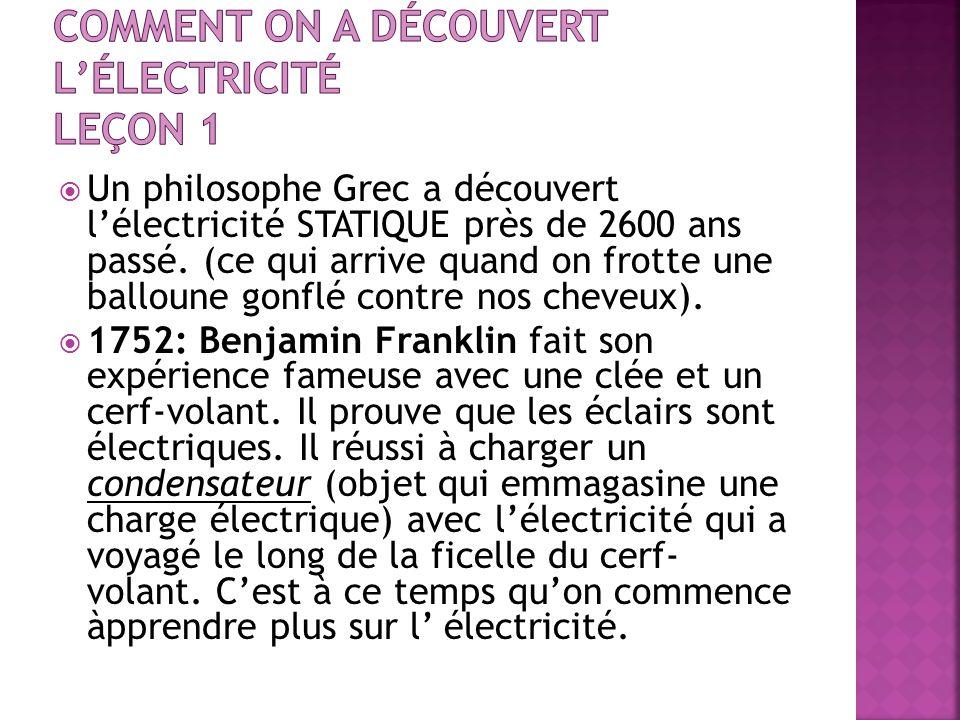 Un philosophe Grec a découvert lélectricité STATIQUE près de 2600 ans passé. (ce qui arrive quand on frotte une balloune gonflé contre nos cheveux). 1