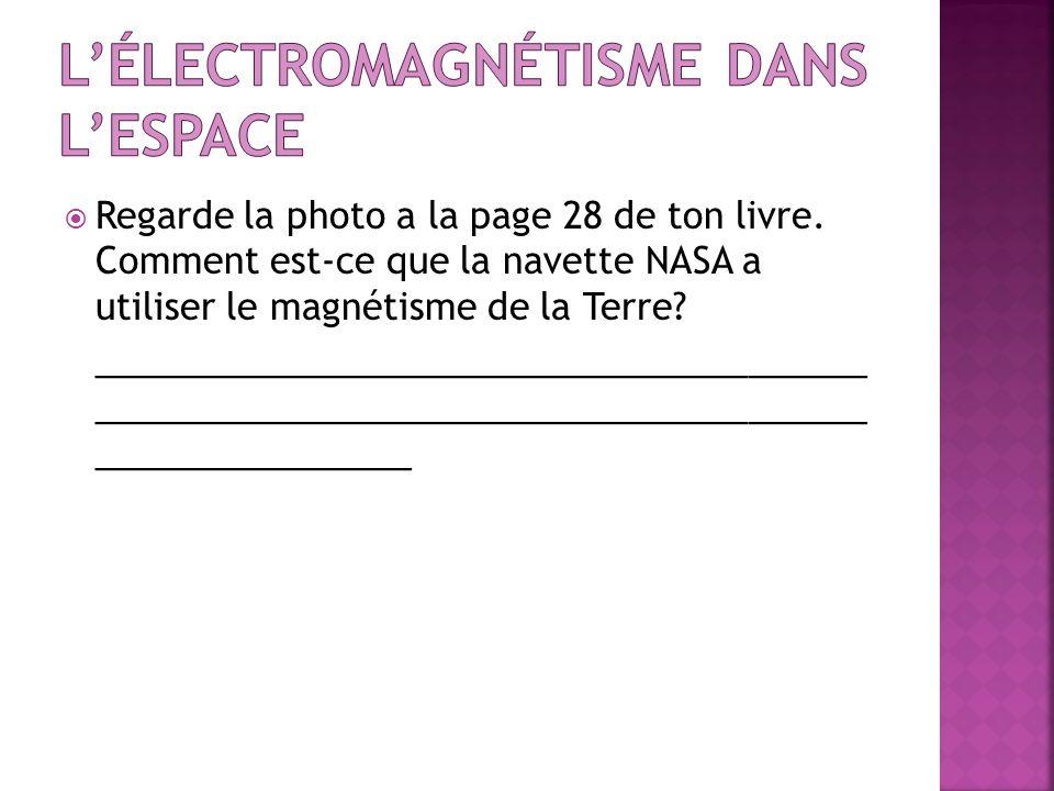 Regarde la photo a la page 28 de ton livre. Comment est-ce que la navette NASA a utiliser le magnétisme de la Terre? _________________________________