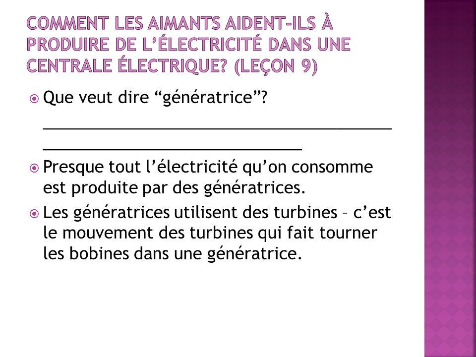 Que veut dire génératrice? _______________________________________ _____________________________ Presque tout lélectricité quon consomme est produite