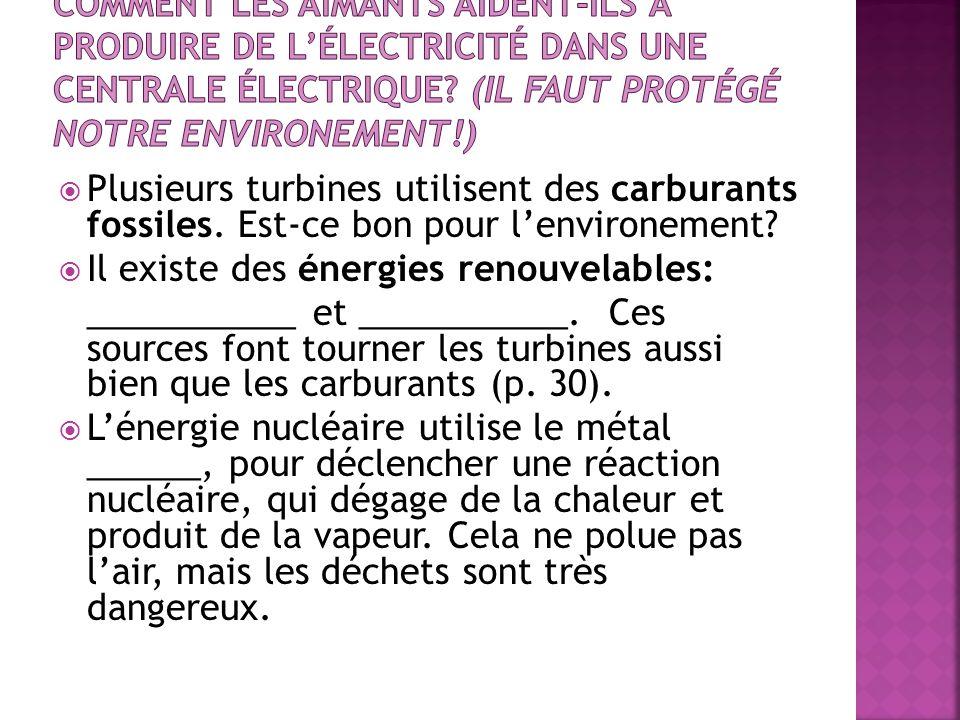 Plusieurs turbines utilisent des carburants fossiles. Est-ce bon pour lenvironement? Il existe des énergies renouvelables: ___________ et ___________.