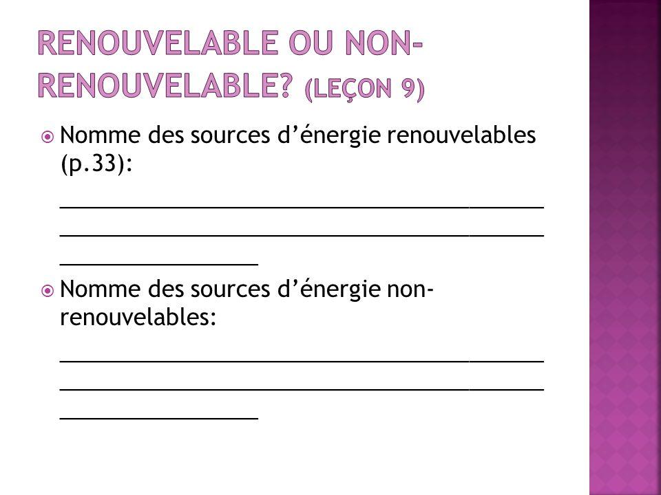Nomme des sources dénergie renouvelables (p.33): _______________________________________ _______________________________________ ________________ Nomm
