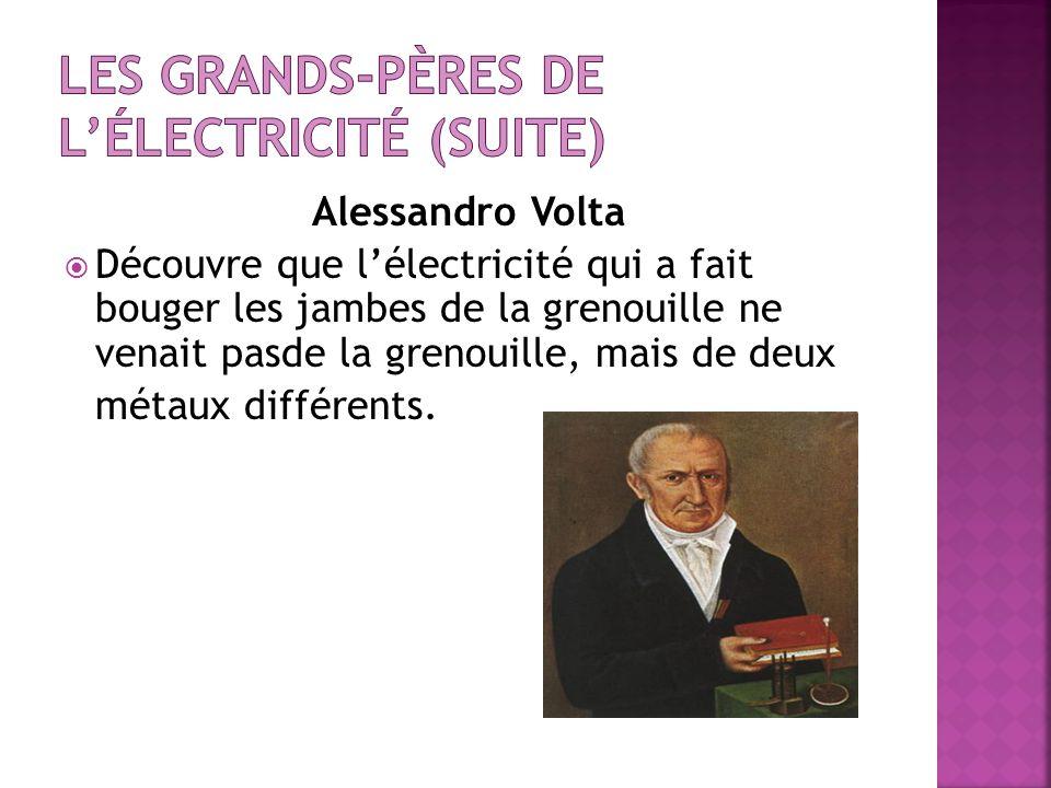 Alessandro Volta Découvre que lélectricité qui a fait bouger les jambes de la grenouille ne venait pasde la grenouille, mais de deux métaux différents