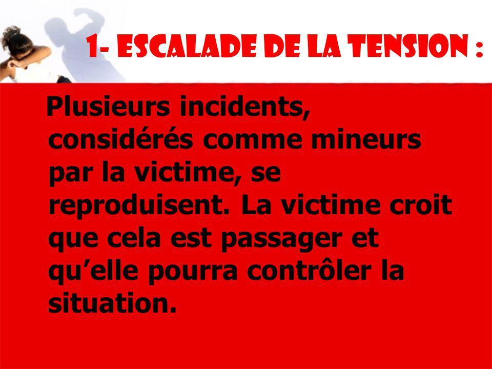 1- Escalade de la tension : Plusieurs incidents, considérés comme mineurs par la victime, se reproduisent. La victime croit que cela est passager et q