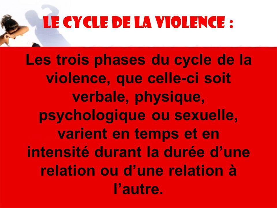 Le Cycle de la violence : Les trois phases du cycle de la violence, que celle-ci soit verbale, physique, psychologique ou sexuelle, varient en temps e