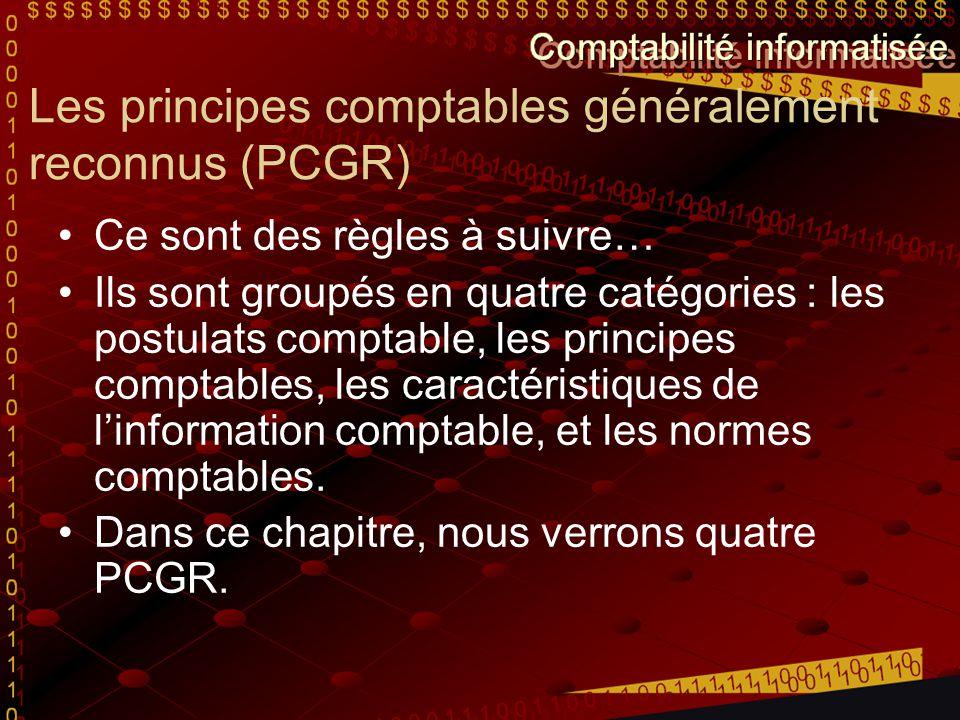 Les principes comptables généralement reconnus (PCGR) Ce sont des règles à suivre… Ils sont groupés en quatre catégories : les postulats comptable, le
