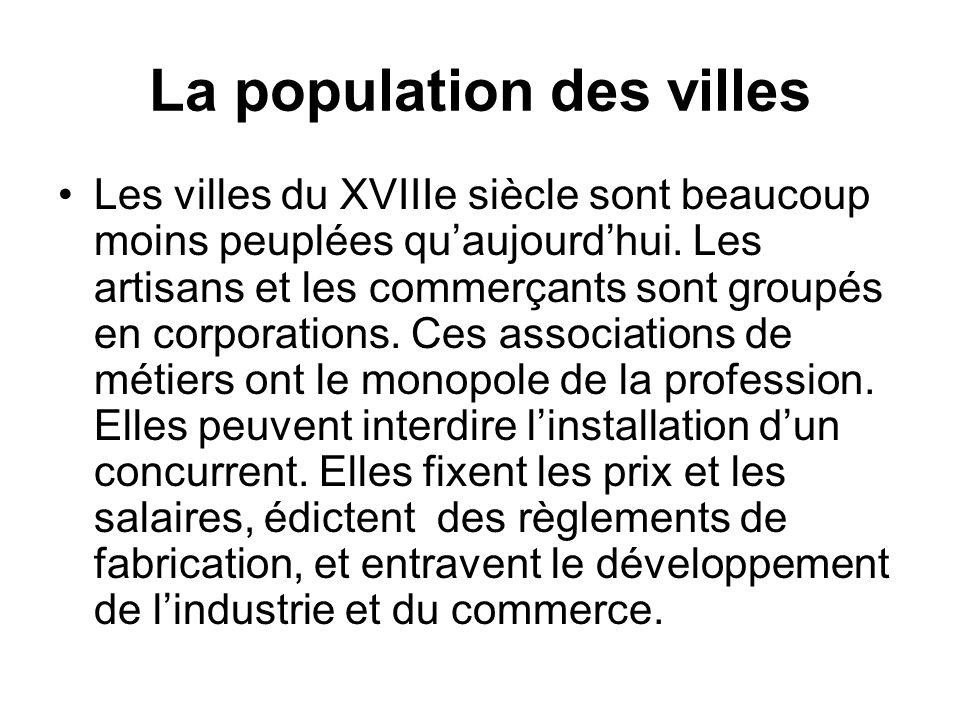 La population des villes Les villes du XVIIIe siècle sont beaucoup moins peuplées quaujourdhui. Les artisans et les commerçants sont groupés en corpor