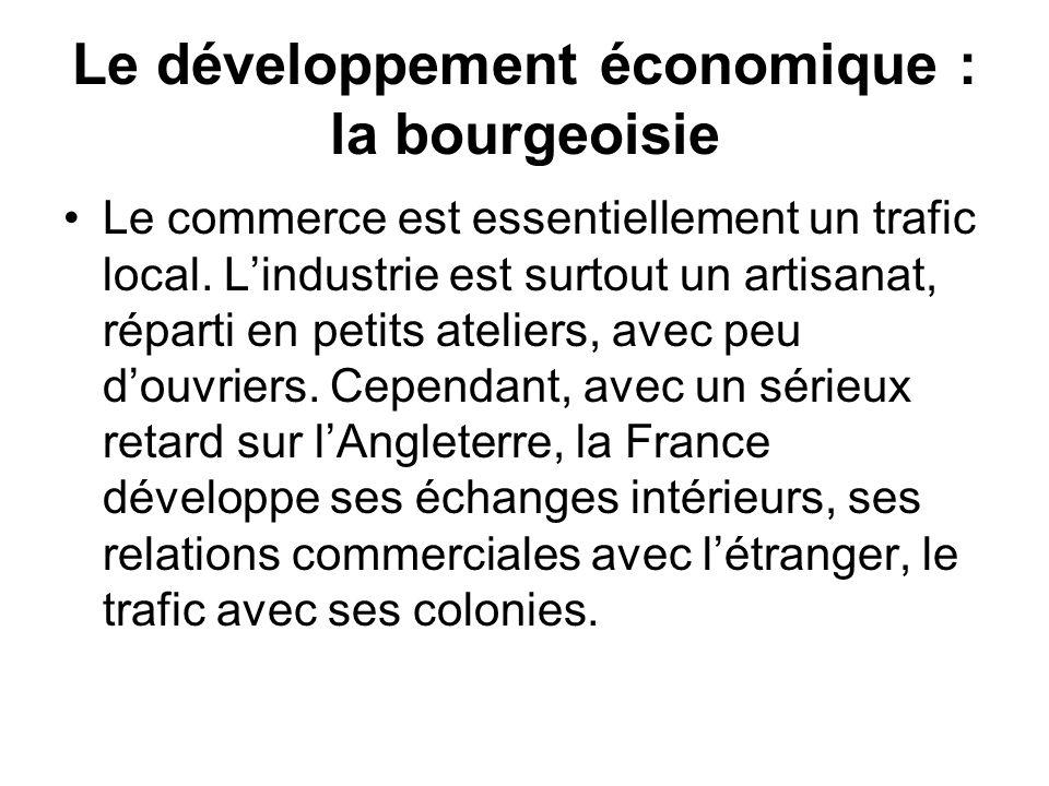 Le développement économique : la bourgeoisie Le commerce est essentiellement un trafic local. Lindustrie est surtout un artisanat, réparti en petits a