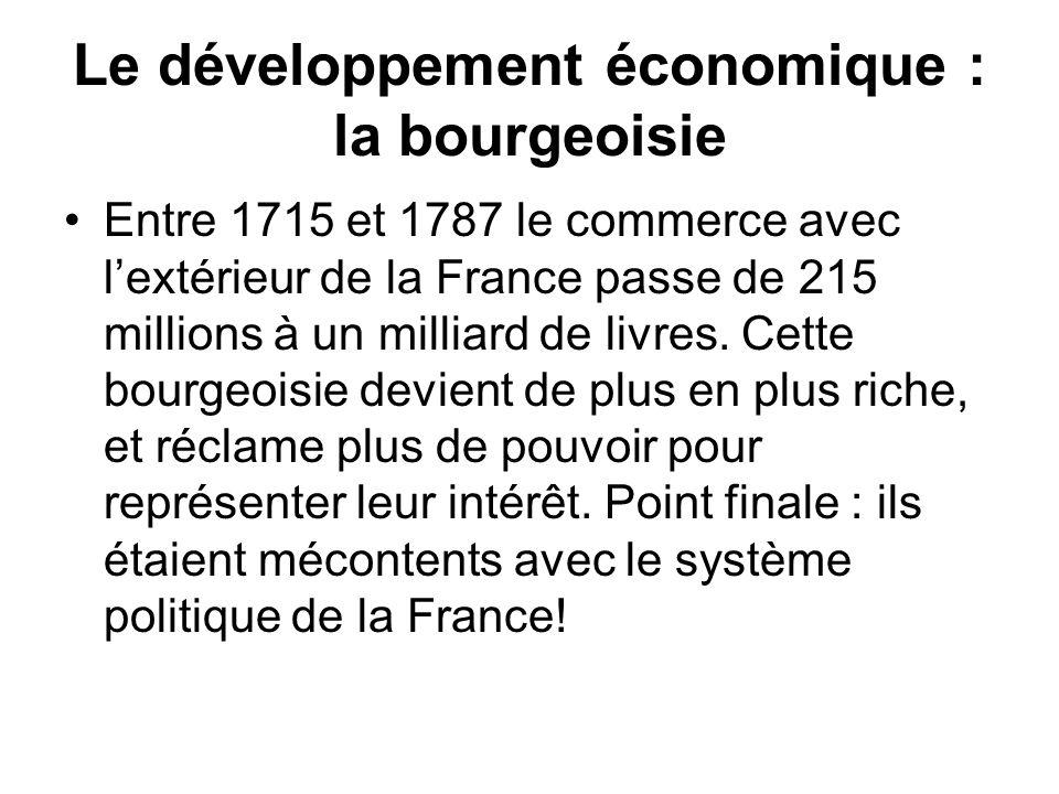 Le développement économique : la bourgeoisie Entre 1715 et 1787 le commerce avec lextérieur de la France passe de 215 millions à un milliard de livres