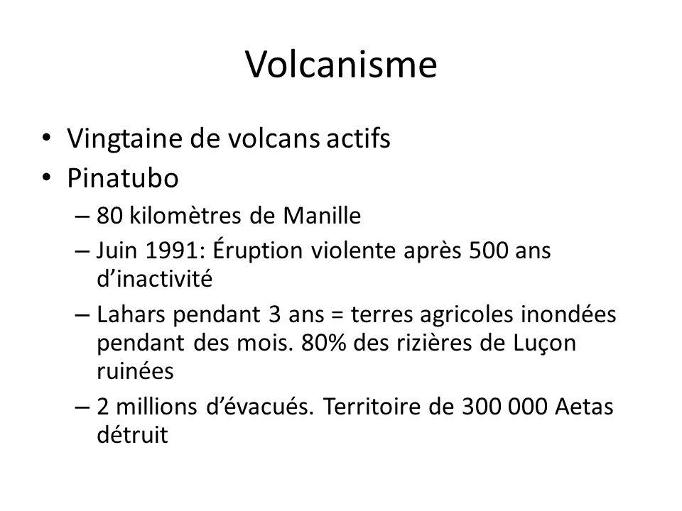 Volcanisme Vingtaine de volcans actifs Pinatubo – 80 kilomètres de Manille – Juin 1991: Éruption violente après 500 ans dinactivité – Lahars pendant 3