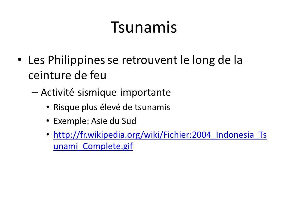Tsunamis Les Philippines se retrouvent le long de la ceinture de feu – Activité sismique importante Risque plus élevé de tsunamis Exemple: Asie du Sud