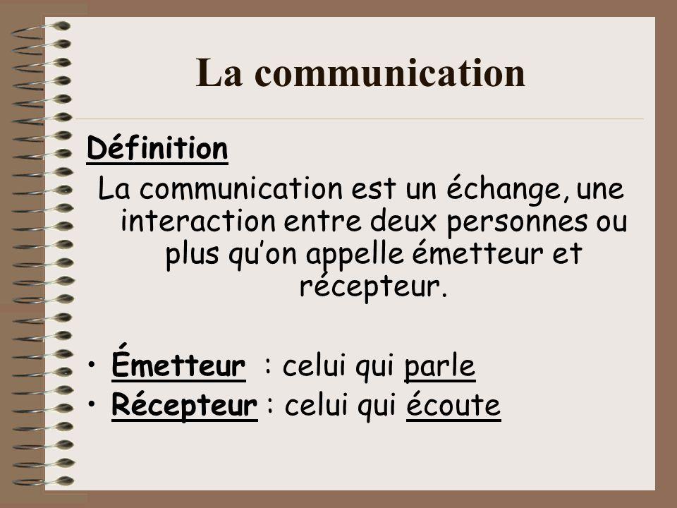 La communication Définition La communication est un échange, une interaction entre deux personnes ou plus quon appelle émetteur et récepteur. Émetteur