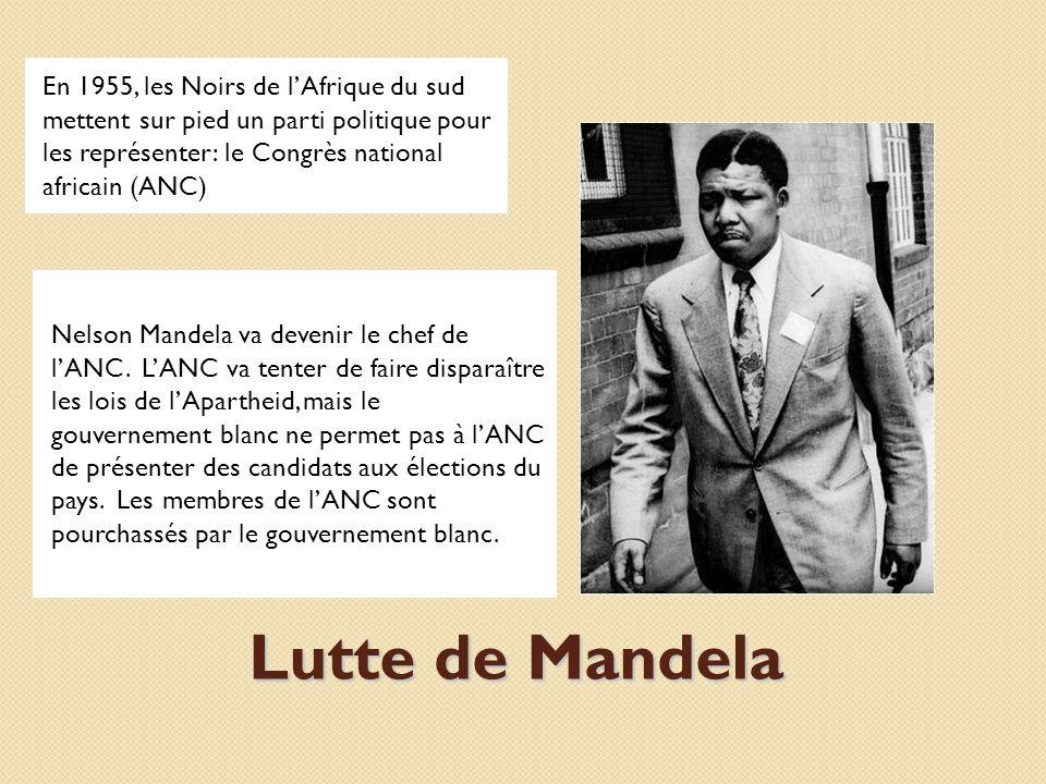 En 1956 et à nouveau en 1962, Mandela est enfermé en prison sur lîle Robben car il tente de faire une différence pour le peuple noir en Afrique du sud.