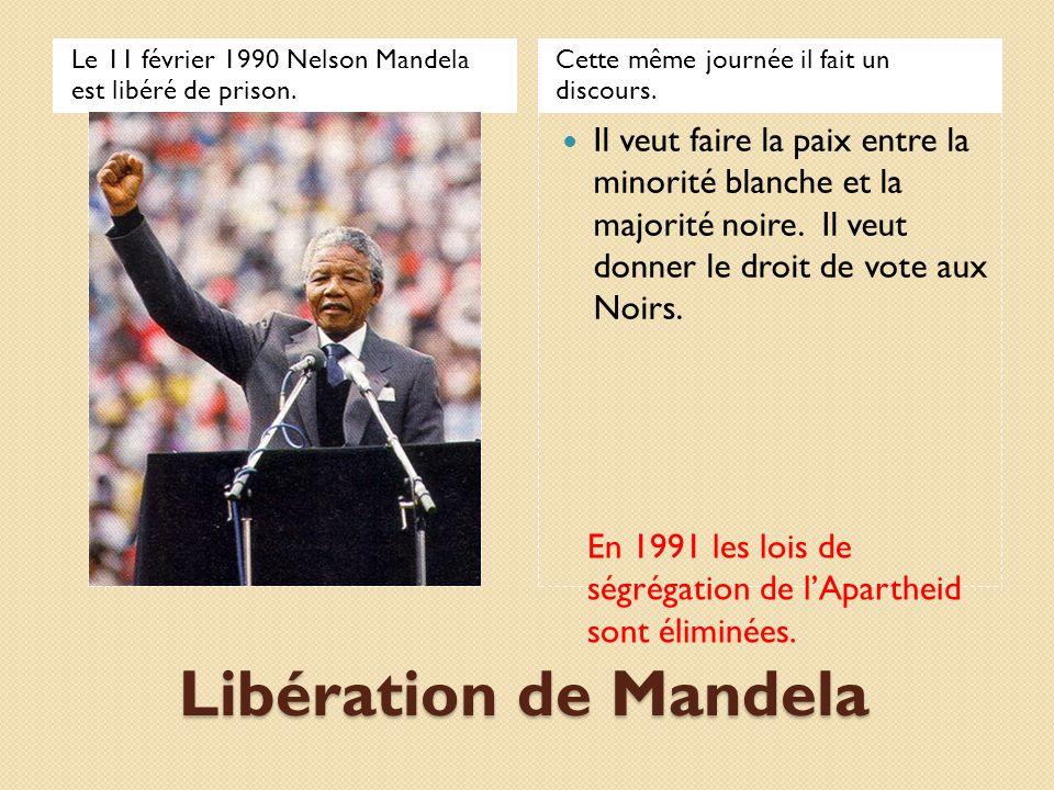 Élections en Afrique du sud En 1994, les premières élections ou tous les citoyens Noirs et Blancs peuvent voter ont lieu.