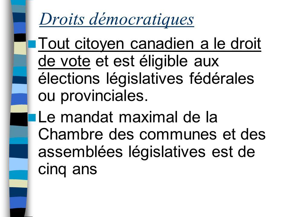 Droits démocratiques Tout citoyen canadien a le droit de vote et est éligible aux élections législatives fédérales ou provinciales. Le mandat maximal