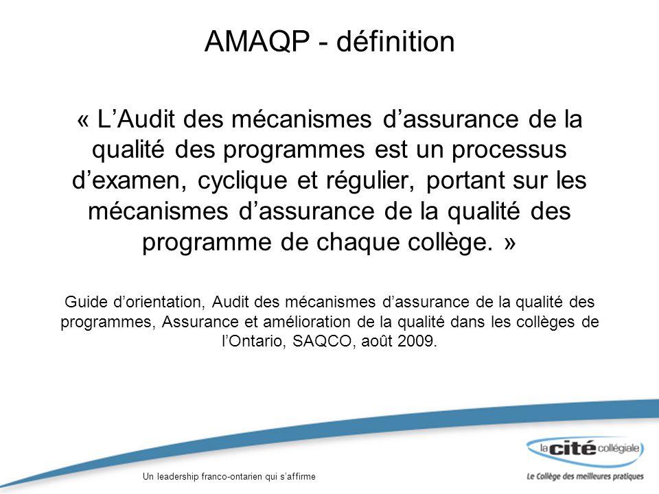 Un leadership franco-ontarien qui saffirme AMAQP - définition « LAudit des mécanismes dassurance de la qualité des programmes est un processus dexamen, cyclique et régulier, portant sur les mécanismes dassurance de la qualité des programme de chaque collège.
