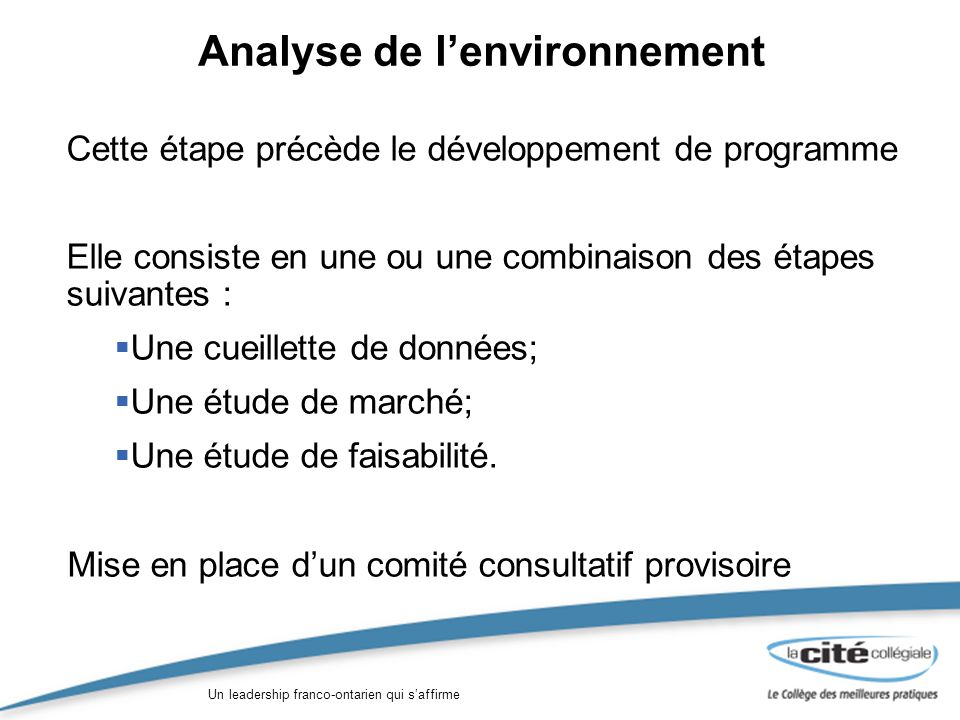 Un leadership franco-ontarien qui saffirme Analyse de lenvironnement Cette étape précède le développement de programme Elle consiste en une ou une combinaison des étapes suivantes : Une cueillette de données; Une étude de marché; Une étude de faisabilité.