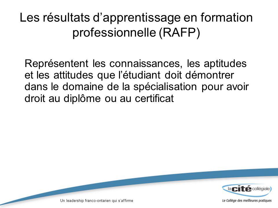 Un leadership franco-ontarien qui saffirme Les résultats dapprentissage en formation professionnelle (RAFP) Représentent les connaissances, les aptitudes et les attitudes que létudiant doit démontrer dans le domaine de la spécialisation pour avoir droit au diplôme ou au certificat