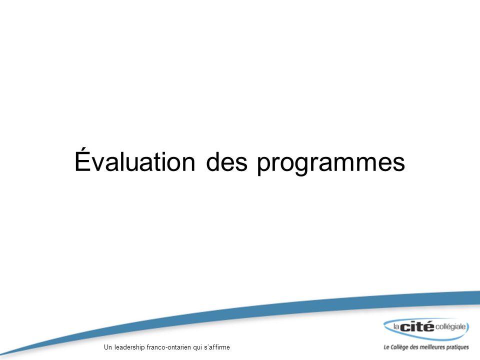 Un leadership franco-ontarien qui saffirme Évaluation des programmes