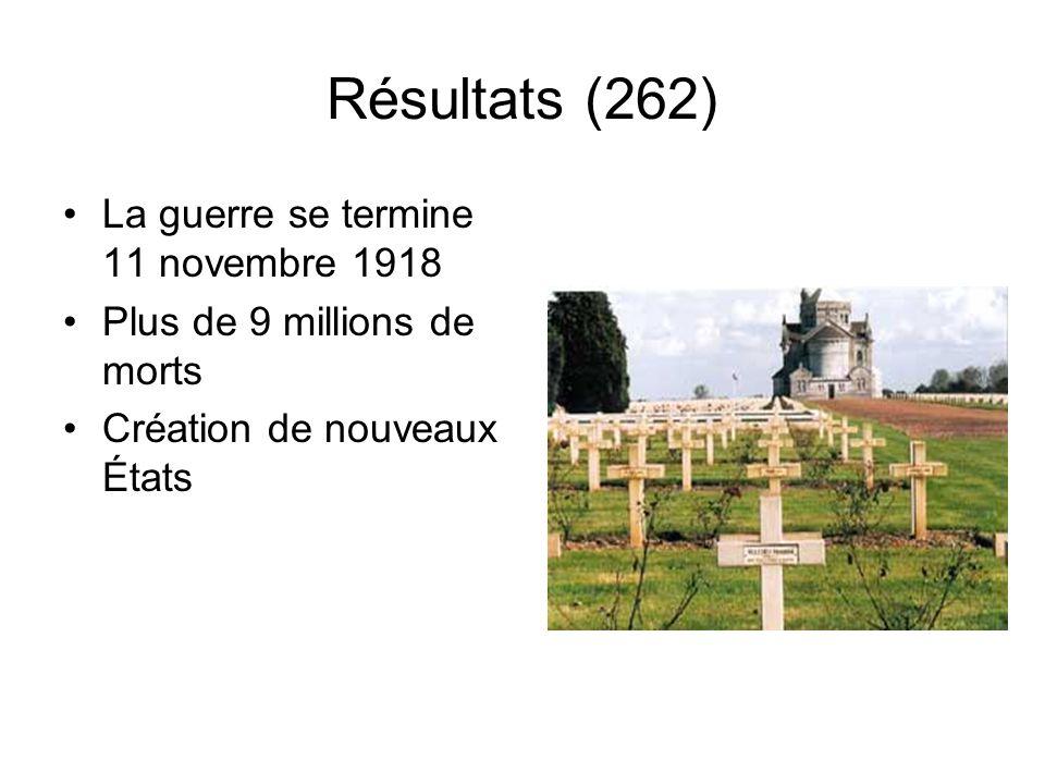 Résultats (262) La guerre se termine 11 novembre 1918 Plus de 9 millions de morts Création de nouveaux États