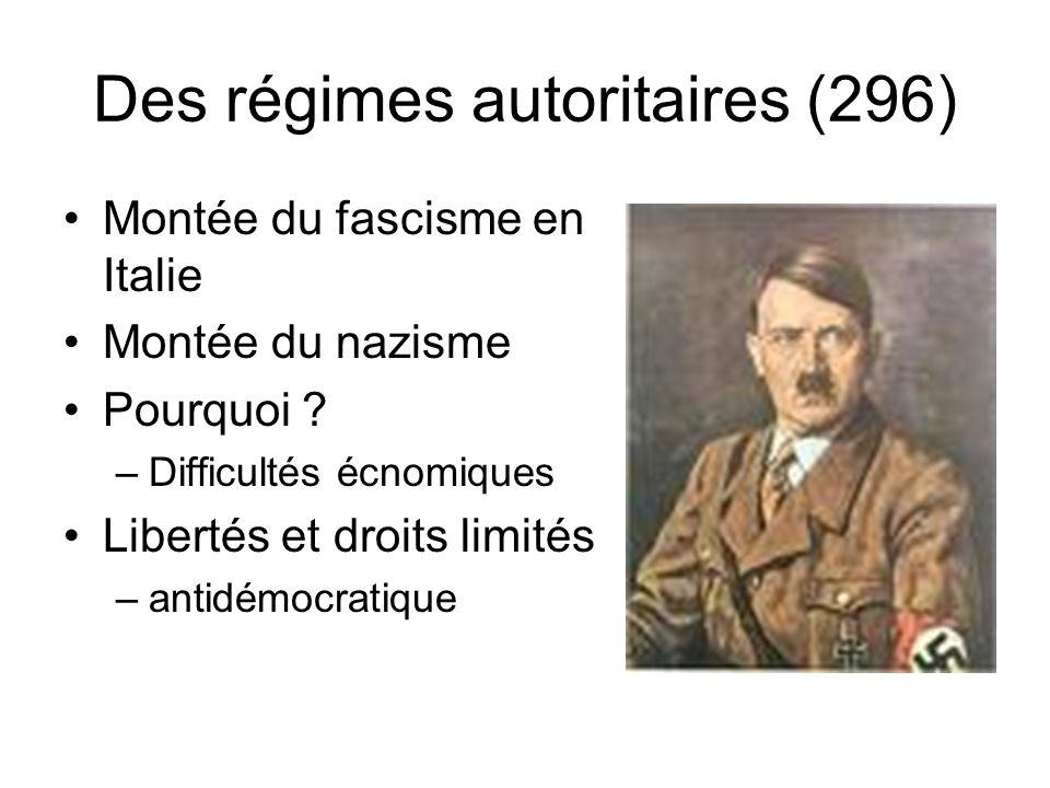 Des régimes autoritaires (296) Montée du fascisme en Italie Montée du nazisme Pourquoi ? –Difficultés écnomiques Libertés et droits limités –antidémoc