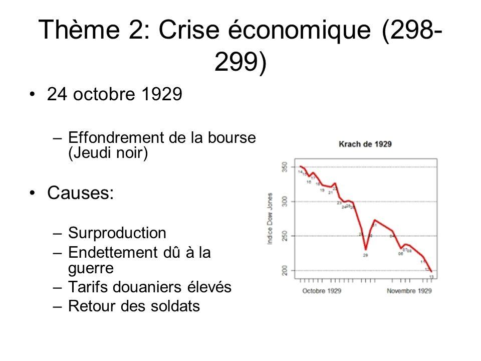 Thème 2: Crise économique (298- 299) 24 octobre 1929 –Effondrement de la bourse (Jeudi noir) Causes: –Surproduction –Endettement dû à la guerre –Tarifs douaniers élevés –Retour des soldats
