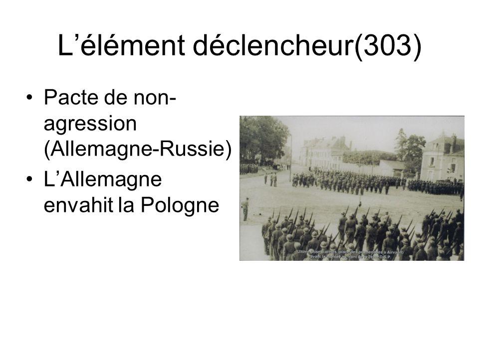 Lélément déclencheur(303) Pacte de non- agression (Allemagne-Russie) LAllemagne envahit la Pologne