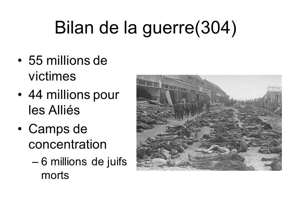 Bilan de la guerre(304) 55 millions de victimes 44 millions pour les Alliés Camps de concentration –6 millions de juifs morts