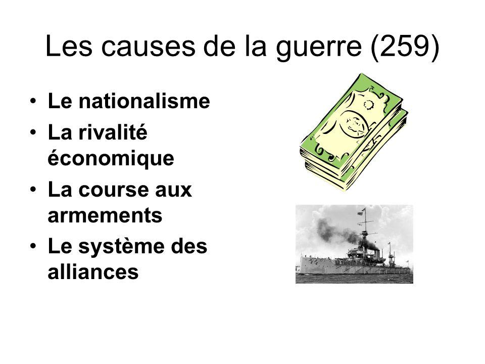 Les causes de la guerre (259) Le nationalisme La rivalité économique La course aux armements Le système des alliances