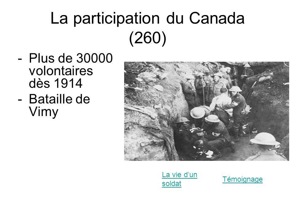 La participation du Canada (260) -Plus de 30000 volontaires dès 1914 -Bataille de Vimy La vie dun soldat Témoignage
