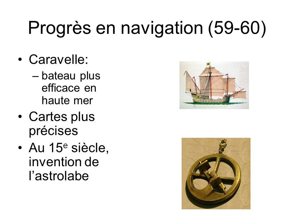 Progrès en navigation (59-60) Caravelle: –bateau plus efficace en haute mer Cartes plus précises Au 15 e siècle, invention de lastrolabe